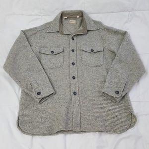 L.L. Bean Wool Work Jacket Mens Large Gray Tan